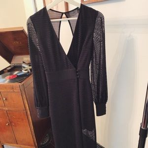 Black woven maxi dress